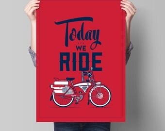 "Screen Printed Bike Poster • ARTCRANK 2015 • 18"" x 24"" • 2 colors"