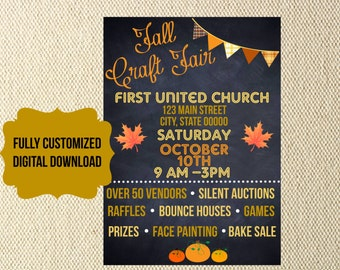 DIGITAL FILES Fall Festival craft fair church school organization Flyer invitation chalkboard carnival trunk or treat vbs charity fundraiser