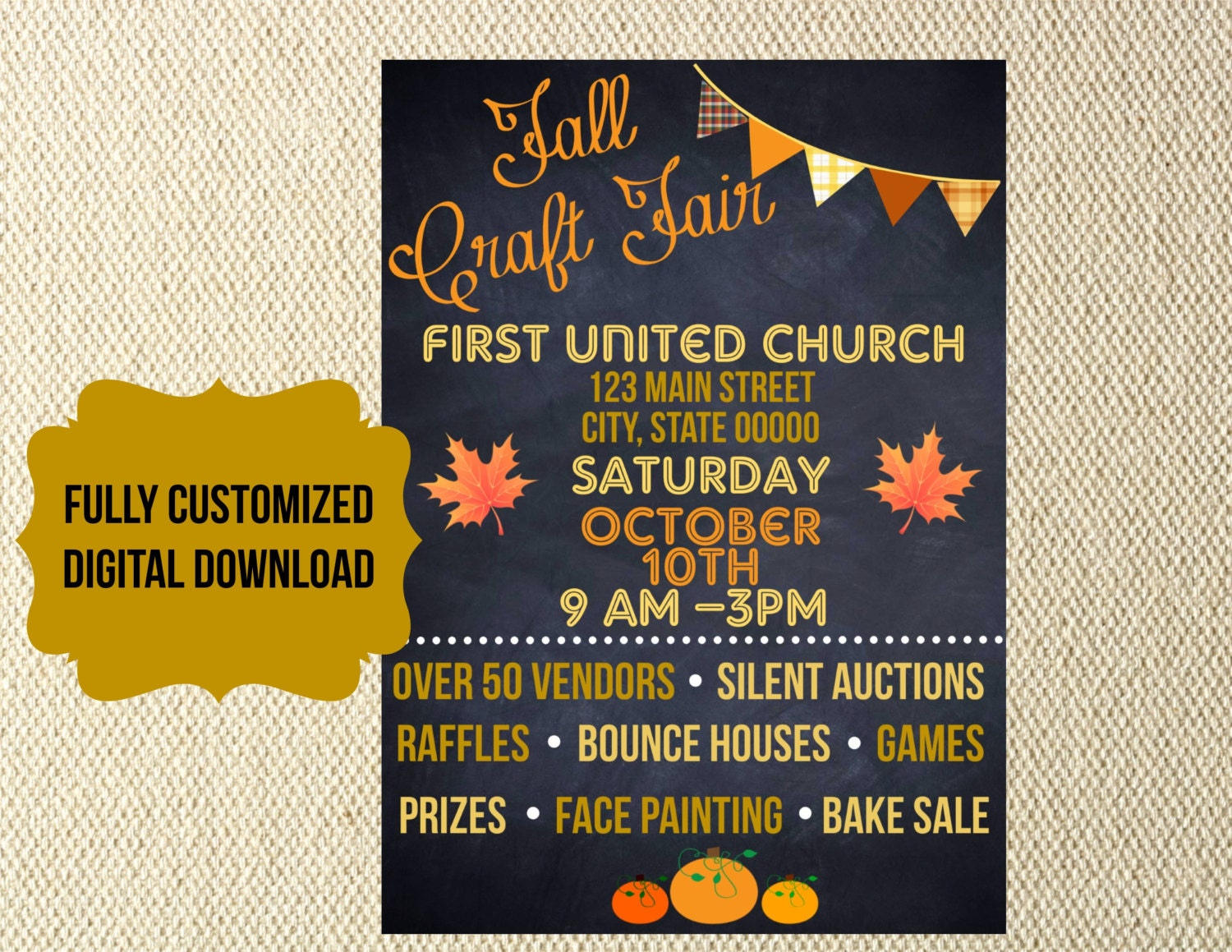 event flyer digital files fall festival craft fair church school organization flyer invitation chalkboard carnival trunk or treat vbs charity fundraiser