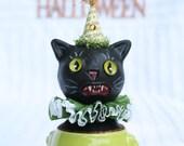 Halloween Black Cat Art Doll Vintage Style Prim Folk # 2