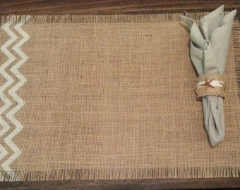 """Burlap Placemats 12"""" x 18"""" set of 4 or 6 or 8 with chevron - Holiday decorating Home decor"""