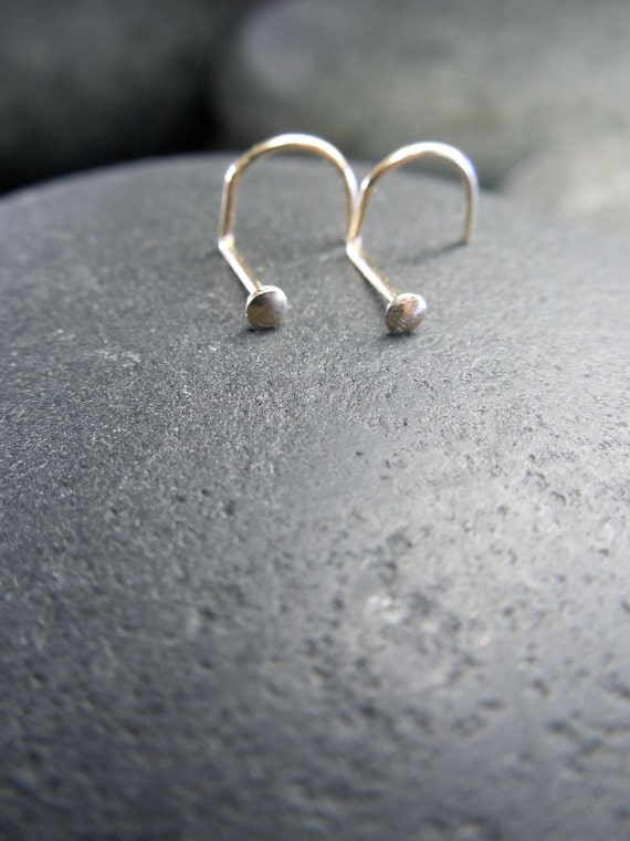 Very small nose stud 22 gauge 14k gold filled domed flat head for Very small flat