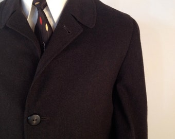 Vintage 1960s Charcoal/Black Wool Overcoat w/Zip-In Liner Made by Sears Size 44