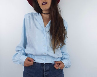 Vintage 80s Cropped Floral Print Baby Blue Blouse