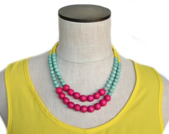 hot pink and mint necklace / pink and turquoise necklace / statement necklace / hot pink mint green yellow / colorful necklace / modern