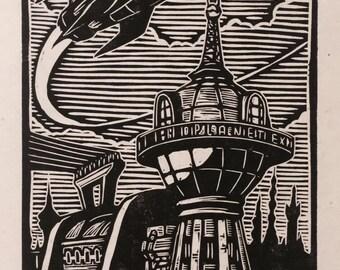 Futurama Woodblock Print