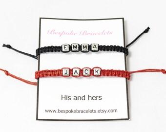 Couples bracelet | His and Hers | Custom name bracelet | Layering bracelets | Initial bracelets | Letter bracelet | Personalised bracelet