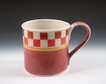 Tin Cup Series - Cranberry checkers -porcelain