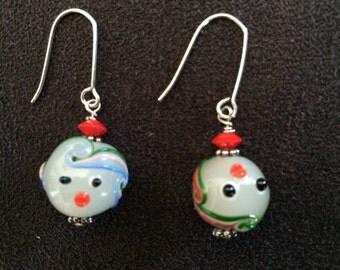 White Art Glass Face Earrings, Glass Lampworks Earrings, Colorful Glass EarringsEarrings, White Art Glass Earrings, Whimsical Earrings