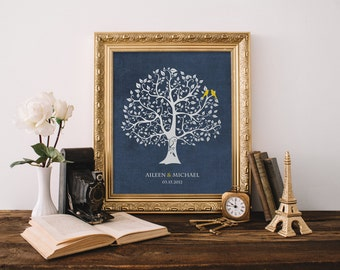 Personalized Custom Love Bird Wedding Family Tree - New home Art Family Tree Poster Print 8 x 10
