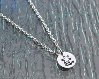 LEO Love- Hand Stamped Badge or Sheriff Star Necklace