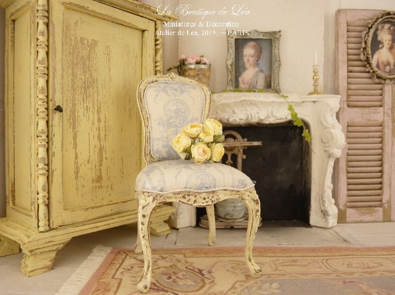 dollhouse french castle shabby chair louis xv pale blue. Black Bedroom Furniture Sets. Home Design Ideas