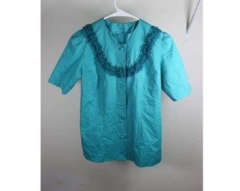 Vintage Unique Handmade Teal Shirt with Ruffles Size S, 32in bust 23 in length