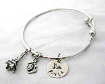 HAND STAMPED BANGLE Bracelet - Paris Jewelry, Travel Jewelry, Eiffel Tower