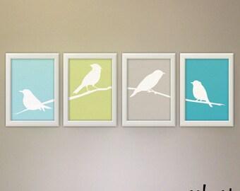 Set of 4 Bird Silhouette Art, Bird Branch Wall Art, Bird Forest Print, Modern Bird Art, Sage Wall Art, Beach Color Bird, Housewarming Bird