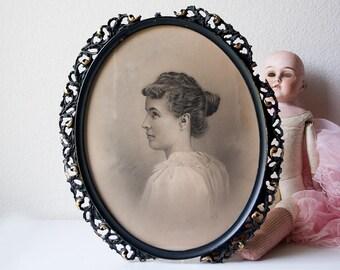 Antique lady portrait painting framed girl profile drawing ornate black wood frame signed original art