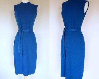 1960s blue sweater dress, acrylic knit sleeveless belted wiggle dress, Small, US 6