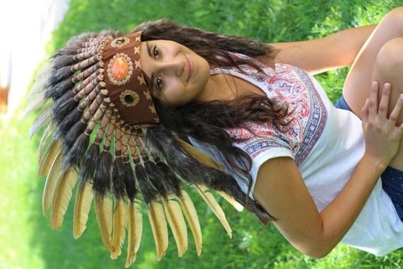 N61- Indian Golden Feather Headdress,