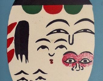 Multi-faced Kokeshi. Beautiful Hand Pulled Silkscreen Print by Norinaka Suzuki. Original Japanese Print. Vintage.