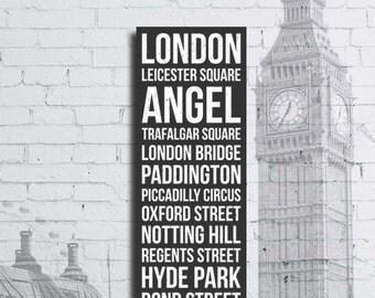 London Neighborhoods Bus Scroll Canvas Print