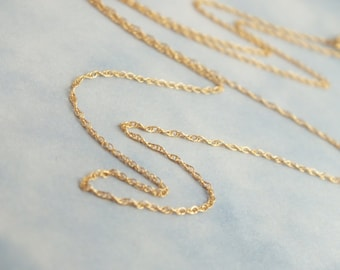 """20"""" 14k Solid Gold Rope Chain .89mm Rope Chain, Delicate Lightweight Pendant Chain, Layer Chain, Minimalist Chain"""