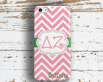Delta Zeta big little gift phone case for Iphone and Samsung - Rose and green chevron - Personalized sorority DZ alumni gift idea (1098)