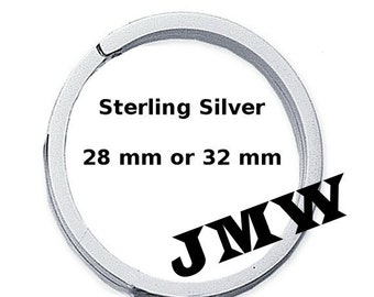 925 Sterling Silver Flat-Wire Split Ring, Key Ring, 28mm or 32mm