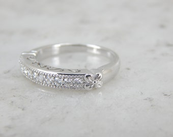 Ladies White Gold and Diamond Wedding Band 2FXUQ0-D