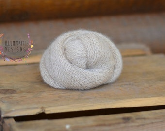 Newborn Props Oat Stretch Knit Mohair Wrap - Newborn Knitted Photo Prop - Beige Mohair Wrap - Neutral Knitted Mohair Wrap - Ready to Ship