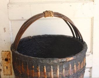 Antique Asian Wicker Wheat Grain Gathering Basket