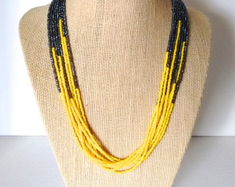 Yellow and charcoal necklace,seed bead necklace,yellownecklace,yellow and gray,beaded necklace,bridesmaid necklace,multistrand necklace