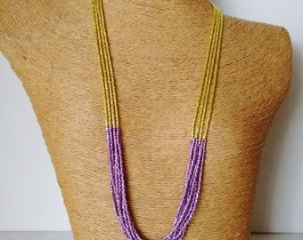 Lemon and lilac necklace,statement necklace,wedding,multistrand,purple and yellow,bridesmaid necklace,violet,bridesmaid gift,lakers