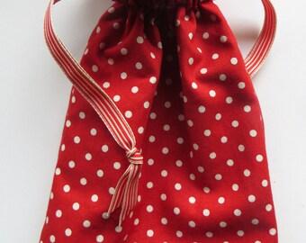 Red Polka Dot Lined Drawstring Fabric Gift Bag