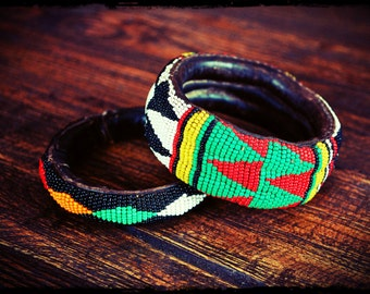 African Beaded Yoruba Bracelet - Set of Two