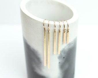 Dainty Earrings 14k Gold Filled, Simple Bar Drop Earrings, Sterling Silver, Rose Gold Fill, Long Dangle LINE Earrings  LE120_vn