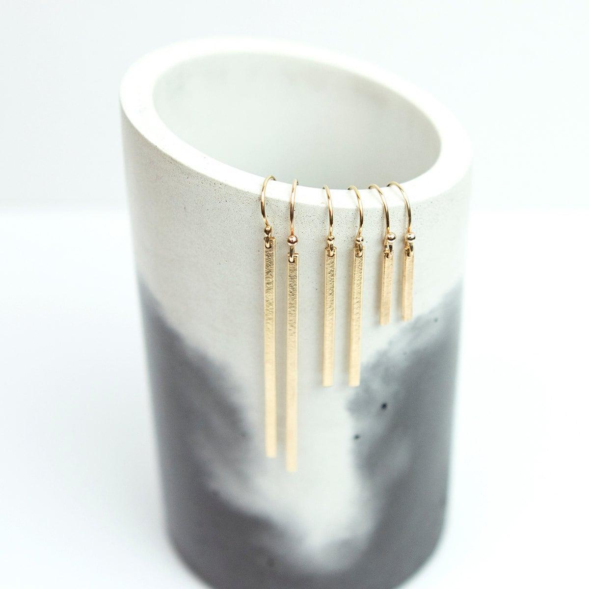 Dainty Earrings 14k Gold Filled Simple Bar Drop Earrings