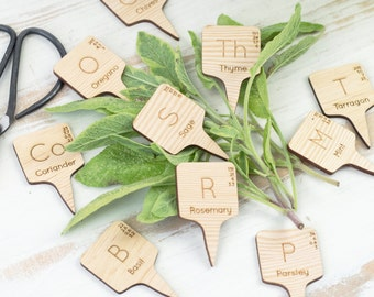 CHEMISTRY HERB MARKERS Set. Periodic Table Elements Style Wooden Plant Posts Gift for Green Fingers Allotment Gardeners Wood Father's Day Uk