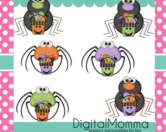 Trick Or Treat Spiders Clipart,Halloween Clipart, Personal, Commercial Use