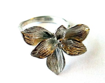 Orchid Ring, Sterling Silver Flower Ring, Sterling Silver Ring, Floral Ring, Flower Silver Ring