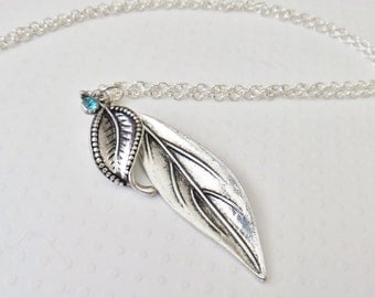 Antique Silver Leaf Necklace, Silver Chain Necklace, Long Chain Necklace, Antique Silver Pendant Necklace