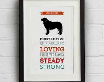 Leonberger Dog Breed Traits Print - Great Gift for Leonberger Lovers