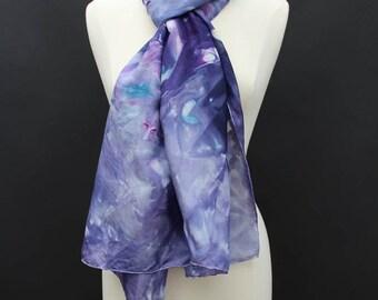 "Hand dyed wearable art silk scarf  21""x86"""