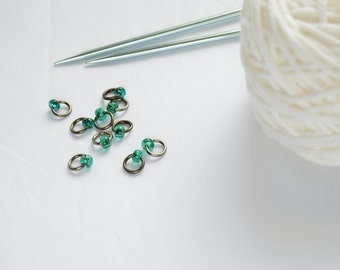 Teal and Silver Knitting Ring, Snag Free Stitch Markers, Needle Size US6 4mm, Knitting Supply, Seamless Stitch Marker, Knitting Tools