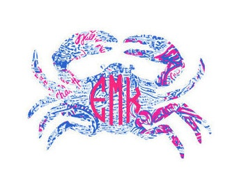 Crab Lilly Pulitzer Inspired Vinyl Decal