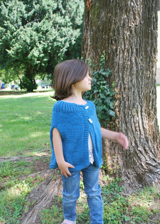 Poncho bambina lana color ottanio coprispalle mantellina for Color ottanio