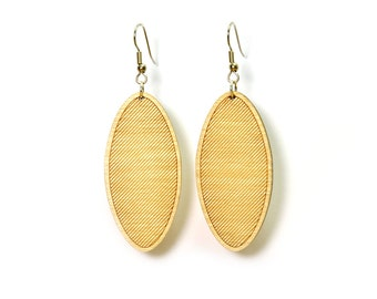 Striped Oval Earrings - Natural