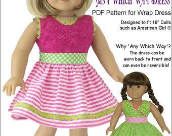 Pixie Faire Genniewren Designs Any Which Way Dress Doll Clothes Pattern for 18 inch American Girl Dolls - PDF