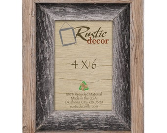 "4x6 -2"" wide Rustic Barn Wood Signature Photo Frame"