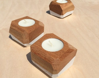 Geode Candle Holders - Set of 3 - Red Oak and White - Made in Vermont