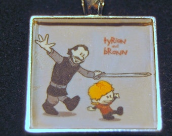 Calvin & Hobbes Tiger Game of Thrones Bronn and Tyrion Lannister Silver Pendant Necklace Jewelry Bill Waterson